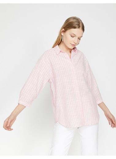 Koton Çizgili Gömlek Bluz Pembe